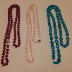 3 LONG BEADS NECKLACES